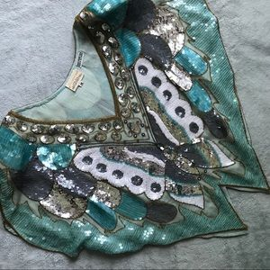 VTG 70s Dominique Silk Butterfly Beaded Disco Top